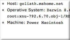 System information screenshot